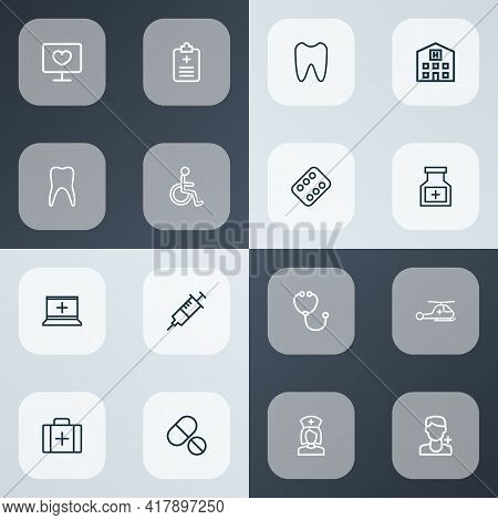 Medicine Icons Line Style Set With Doctor Tool, Hospital, Medic And Other Syringe Elements. Isolated