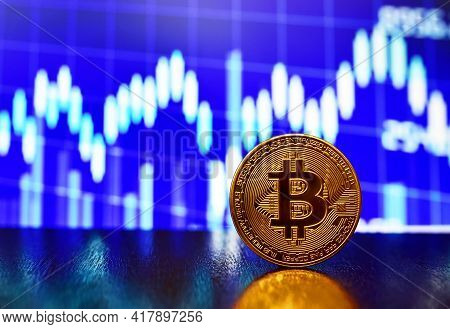 Bitcoin Coin On Background Of Cryptocurrency Trading Exchange Chart. Btc Mining And Investing Concep