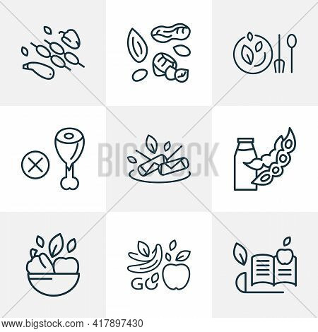 Vegan Icons Line Style Set With Spring Rolls, Dairy, Vegan Bowl And Other Soya Milk Elements. Isolat