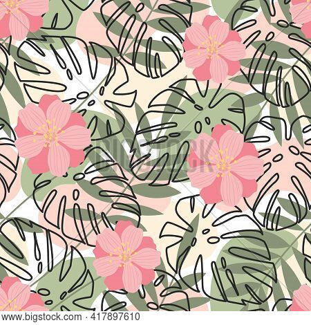 Seamless Pattern Of Green Leaves, Pink Flowers And Contours Of Palm Leaves On An Abstract Background