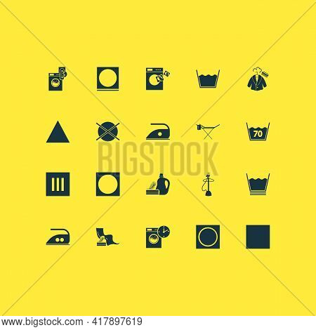 Clothes Icons Set With No Heat, Instruction, Clothes Steaming And Other Do Not Dry Clean Elements. I