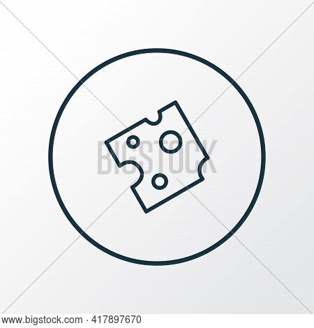 Cheese Icon Line Symbol. Premium Quality Isolated Cheddar Element In Trendy Style.