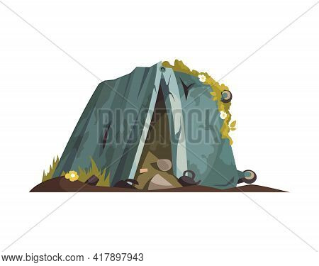 Cartoon Post Apocalypse Icon With Overturned Rubbish Bin On White Background Vector Illustration