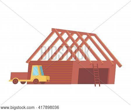 Construction Site Icon With Flat Lorry And Unfinished Building Vector Illustration