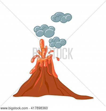 Vector Set Of Cartoon Volcanoes Of Varying Degrees Of Eruption. Flat Illustration With Isolated Obje
