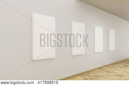 Empty Canvas On White Wall In Art Gallery With Wooden Floor Exhibtion 3d Render Illustration Mock Up