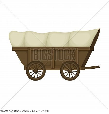 Wild West Wagon Cartoon Vector Icon.cartoon Vector Illustration Old Carriage. Isolated Illustration