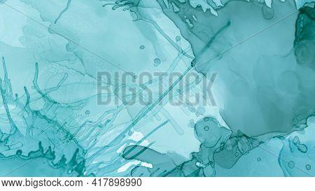 Watercolor Paint Background. Pastel Fluid Liquid. Blue Cloud Gradient Abstraction. Green Pastel Flui