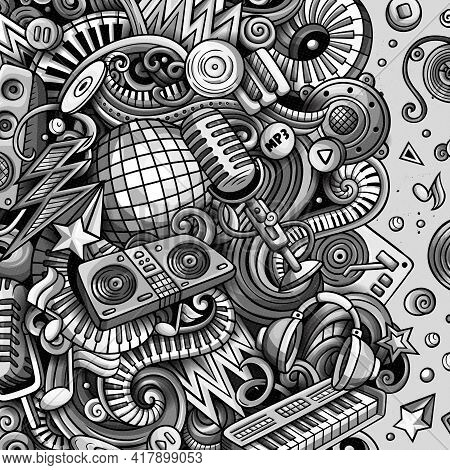 Cartoon Vector Doodles Disco Music Frame. Monochrome, Detailed, With Lots Of Objects Background. All