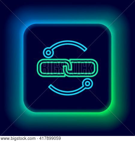 Glowing Neon Line Chain Link Line Icon Isolated On Black Background. Link Single. Colorful Outline C