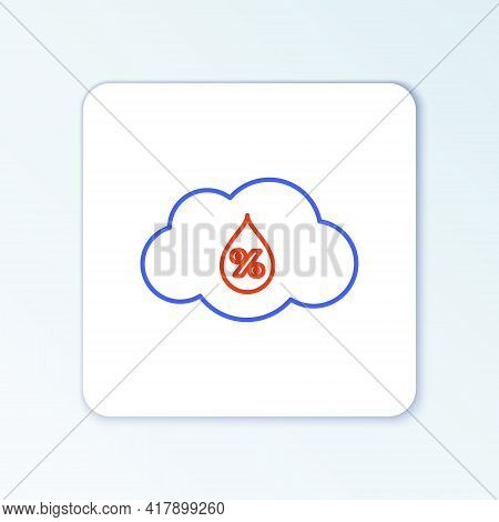 Line Humidity Icon Isolated On White Background. Weather And Meteorology, Cloud, Thermometer Symbol.