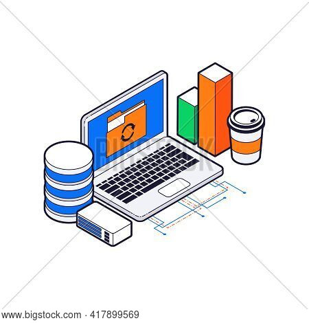 Isometric Colorful Data Sync Icon With 3d Laptop Vector Illustration