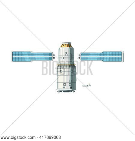 Space Station Block And Photovoltaic Arrays Cartoon Isolated Vector Illustration