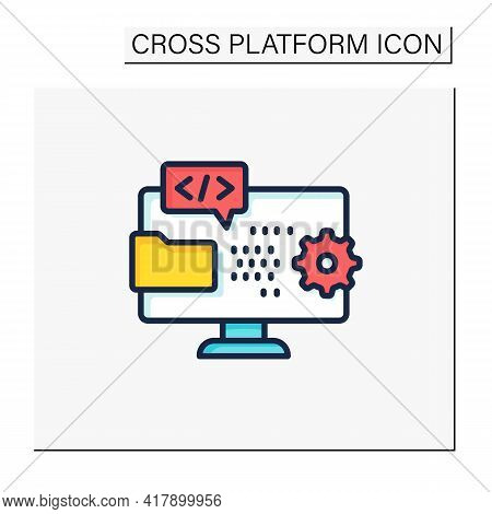 Programming Environment Color Icon. Creating New Software. Operation System On Laptop. Digitalizatio
