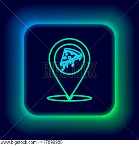 Glowing Neon Line Map Pointer With Fast Food Slice Pizza Icon Isolated On Black Background. Pizzeria
