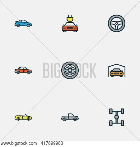 Automobile Icons Colored Line Set With Cabriolet, Sport, Garage And Other Electric Elements. Isolate