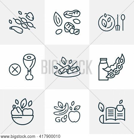 Vegetarianism Icons Line Style Set With Spring Rolls, Dairy, Vegan Bowl And Other Soya Milk Elements