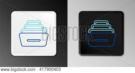 Line Drawer With Documents Icon Isolated On Grey Background. Archive Papers Drawer. File Cabinet Dra