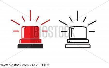 Emergency Or Police Flasher Siren Light Flat Cartoon And Line Outline Stroke Style Design Illustrati