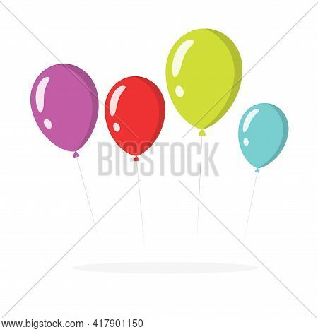Balloons Vector Isolated Colorful Clipart Flat Cartoon Illustration On White Background