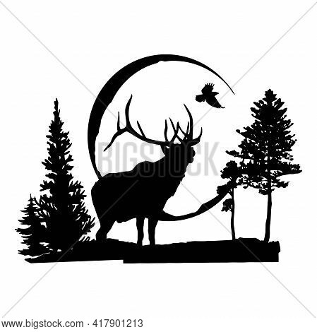 Deer - Wildlife Stencils - Deer Silhouette, Wildlife Clipart Isolated On White