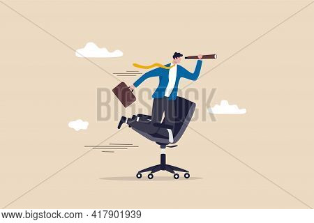 Career Future, New Job Opportunity Or Visionary To Success In Work Concept, Businessman Riding Offic