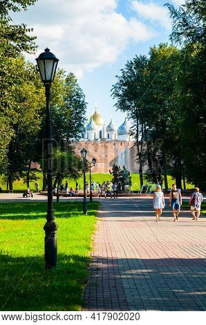 Veliky Novgorod, Russia -august 17, 2019. Veliky Novgorod Kremlin And Walking Tourists In Veliky Nov