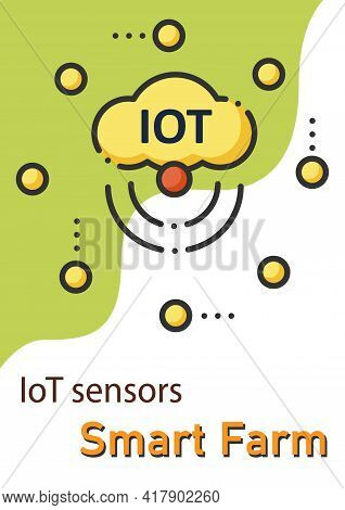 Iot Sensors Brochure.sensors Connected Network To Collect Data Template. Flyer, Magazine, Poster, Bo