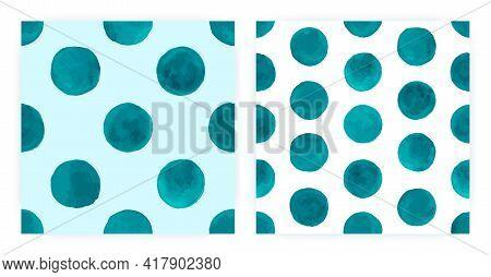 Watercolor Polka Tile. Seamless Spot Textile. Blue Irregular Wallpaper. Vector Watercolor Polka. Gru