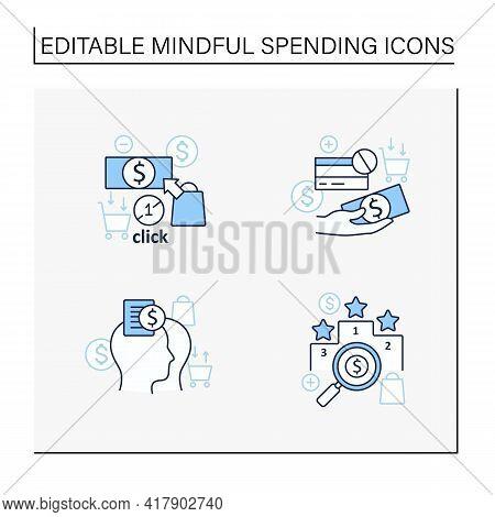 Mindful Spendings Line Icons Set. Rating, Accountability Partner, One Click Buying, Cash Using. Buyi