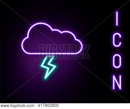 Glowing Neon Line Storm Icon Isolated On Black Background. Cloud And Lightning Sign. Weather Icon Of