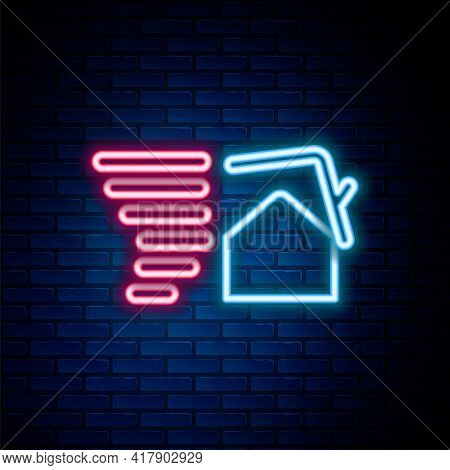 Glowing Neon Line Tornado Swirl Damages House Roof Icon Isolated On Brick Wall Background. Cyclone,