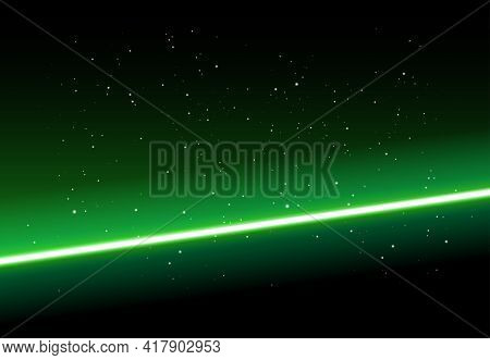 Abstract Space Background - Shining Green Light On Black Background With Stars - Vector Illustration