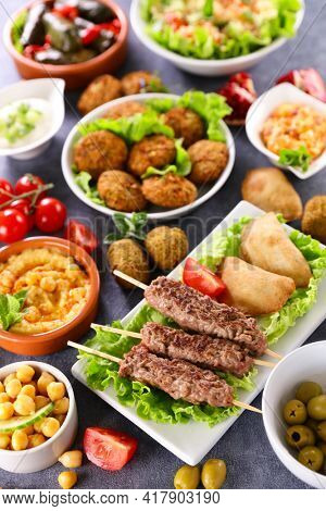 lebanese food selection- various of dishes