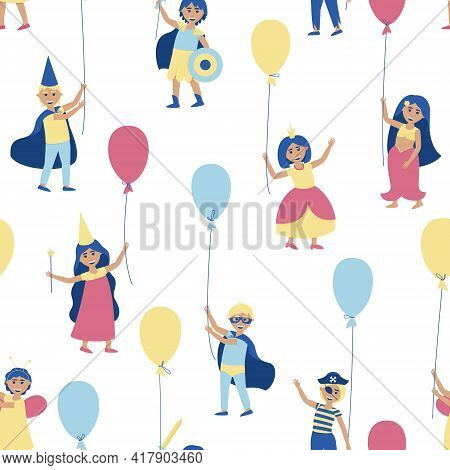 Kids Seamless Pattern With Balloons In Carnival Costumes. To Participate In The Holiday, Young Men A