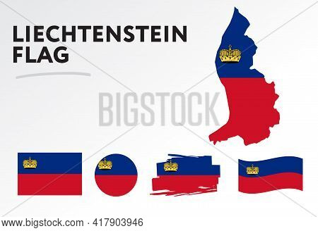 Various Designs Of The Liechtenstein Flag And Map. World Flags. Vector Set. Circle Icon. Brush Strok