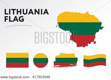 Various Designs Of The Lithuania Flag And Map. World Flags. Vector Set. Circle Icon. Brush Stroke. T