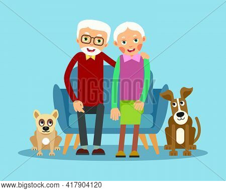 On The Sofa Sit Elderly Woman And Man. Near The Floor Sit Dogs. Family Portrait Of Elderly With Anim