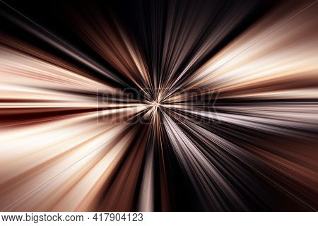 Abstract Radial Zoom Blur Surface Of Brown, Gray And Black Tones. Abstract Brown, Gray Background Wi