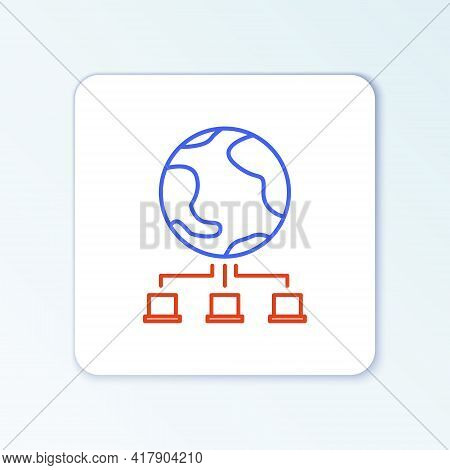 Line Computer Network Icon Isolated On White Background. Online Gaming. Laptop Network. Internet Con