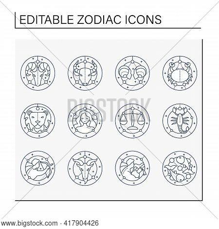Zodiac Line Icons Set. Fourth Fire Signs In Zodiac. Birth Symbols. Mystic Horoscope Signs. Astrologi