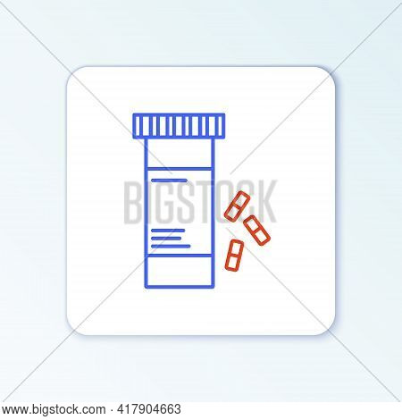 Line Medicine Bottle And Pills Icon Isolated On White Background. Bottle Pill Sign. Pharmacy Design.