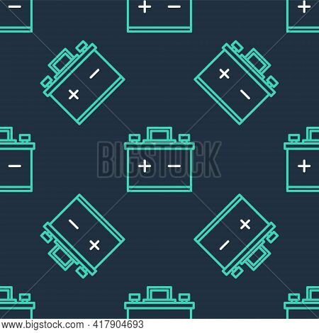 Line Car Battery Icon Isolated Seamless Pattern On Black Background. Accumulator Battery Energy Powe