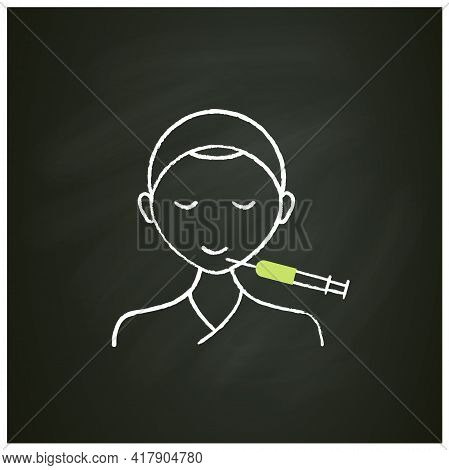 Cosmetic Injection Chalk Icon.injection In Chin. Lifting.rejuvenation. Full Syringe. Beauty Cosmetic