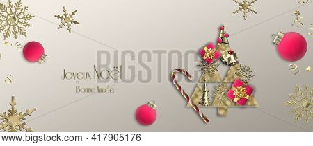Christmas Wishes In French. 2022 Christmas New Year Template, Frame, Business Corporate Party Card.