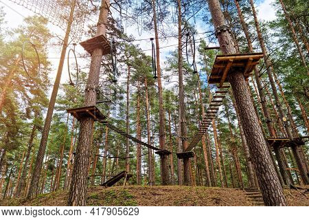 Rope Obstacle Track High In The Trees In Adventure Park