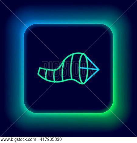 Glowing Neon Line Cone Meteorology Windsock Wind Vane Icon Isolated On Black Background. Windsock In
