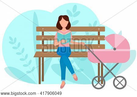 Take A Walk With A Stroller. The Girl Sits On A Bench And Reads A Book. Mom In The Park With Her Chi
