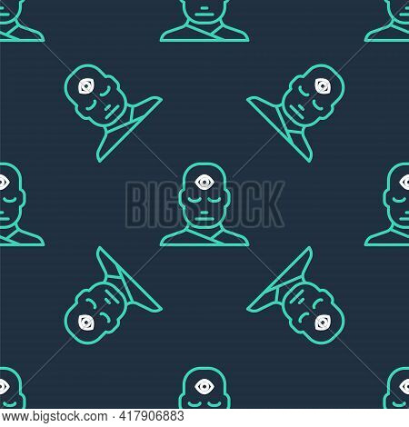 Line Man With Third Eye Icon Isolated Seamless Pattern On Black Background. The Concept Of Meditatio