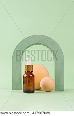 Mockup Image Of Dropper Bottle With Hyaluronic Acid, Serum, Moisturizer, Facial Oil. Trendy Still Li